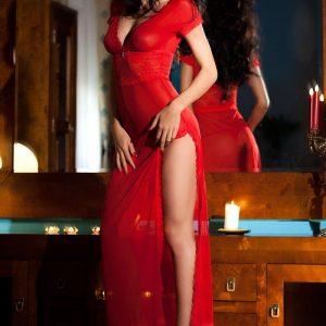 long red lace and chiffon dress