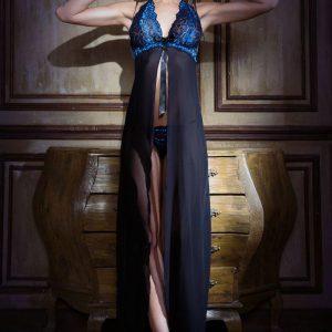 long chiffon and lace dress