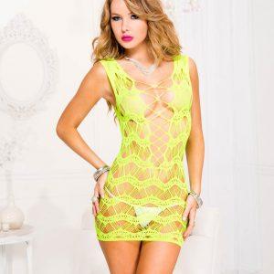 green string and net mini dress