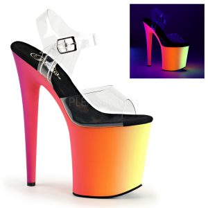 Rainbow 808 UV Reactive Platform Shoes by Pleaser
