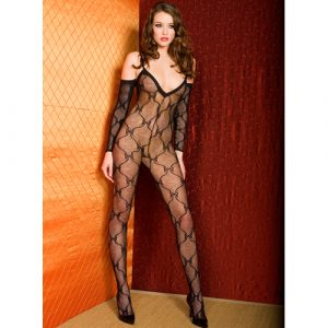 black lacy bodystocking